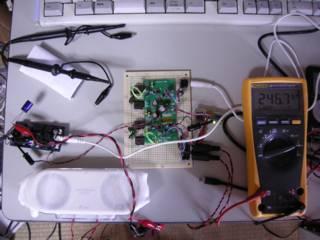 UAC3552A+TPA2001D1 ステレオアンプ組み合わせ VBUS 電流測定、USB オーディオ基板で内部生成している +5V をアンプの電源にした - 机上で聞き取りが十分できる控えめな音量の場合 VBUS 電流は 246.7mA (常に変動しているが大体平均の値)