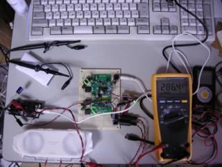 UAC3552A   TPA2001D1 ステレオアンプ基板 組み合わせの VBUS 電流 - 小さい部屋なら鳴っている事が十分認識出来る音量で 286.4mA