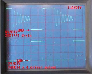 動作波形 upper 2SK1772 Drain 5V/DIV, Lower HC14 x 4 driver output 2V/DIV, 1uS/DIV - 自転車前照灯 LED x4