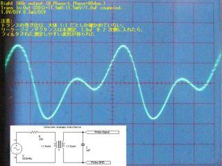右側ヘッドホン出力(差動)をトランスを通して平衡/不平衡変換をした。対 GND 振幅として見えるようになる。トランスの出力側にコンデンサを入れ、リーケージインダクタンス、抵抗と共にフィルターを形成した。