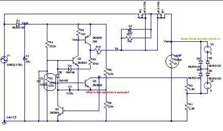 自転車ランプ(前照灯)回路図 - 赤字のトランジスタは目的不明、緑字の部分はツエナダイオードの対向接続を模擬回路で代用、角丸囲みがCdS、丸囲みがランプ、解析不十分のため LTSpice ソースは未だ付けていません。余計な線が入ってしまった。ゴメン