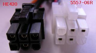 左: HE430 の 6pin コネクタ、右: 5557-06R 電源 勘合部分の「四角」と「山形」が一致する