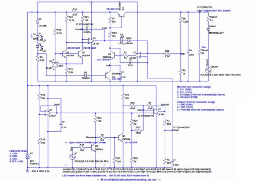 4Pin PWM Fan 信号を 3Pin Fan 信号に変換する基板 - クリックすると拡大(外部リンクです)、左上が過電流検出、上真中がレギュレータ出力・ドライブ・エラーアンプ、右上がフィードバック、左下が中点電圧発生、右下が最小電圧加算・PWM 信号平均化