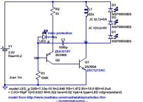 ダイソー懐中電灯 LED 化回路 - LED x 3 を点灯、2SC1213AC が少し熱くなる