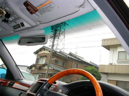 グラデーションフィルム施工後車内側画像