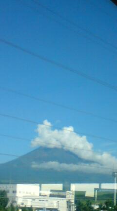 雲かぶった富士山