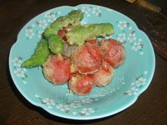 ミニトマトとシシトウの天ぷら