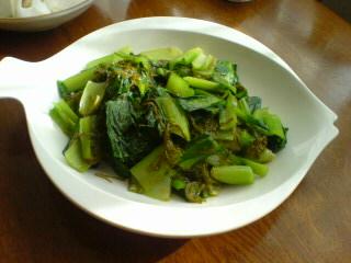 青菜の梅めかぶ和え