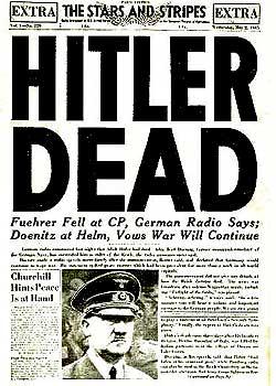 ヒトラーの死を報ずる新聞