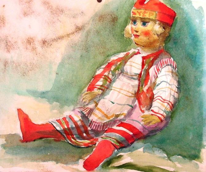 人形 水彩画