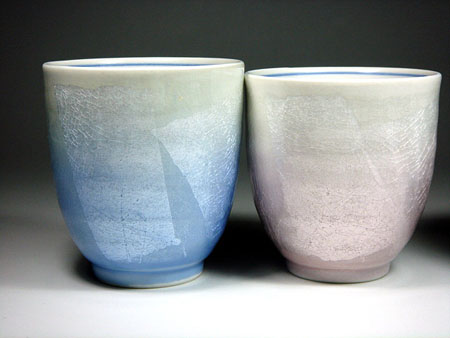 九谷焼夫婦湯呑銀彩青色とピンク色