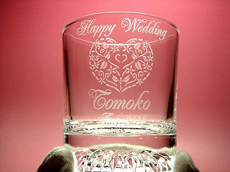 ご結婚祝いに名入れガラス彫刻 ペアロックグラス