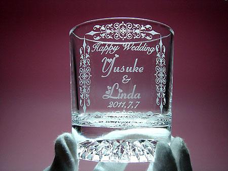 ご結婚お祝いガラスエッチング名入れ彫刻ペアグラスロック