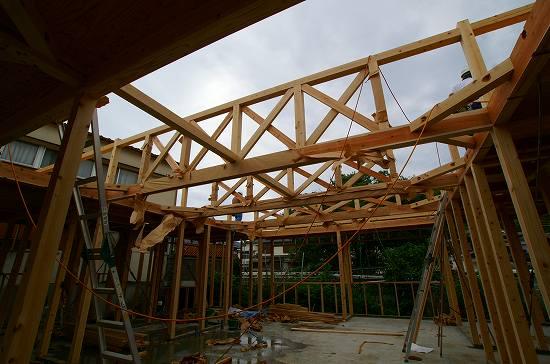 木造 トラス  木造トラスにて、木造ですが大きいスパン大空間を実現しました! 鉄骨造に...
