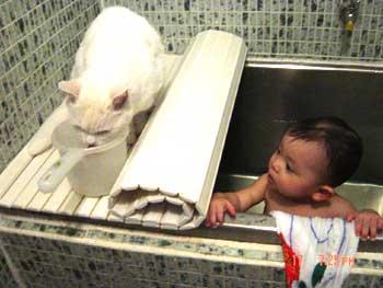 ミミと桃お風呂その2