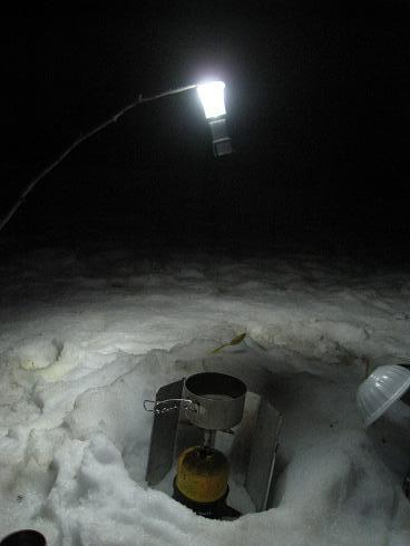 深夜2時 -5度 雪上テント泊