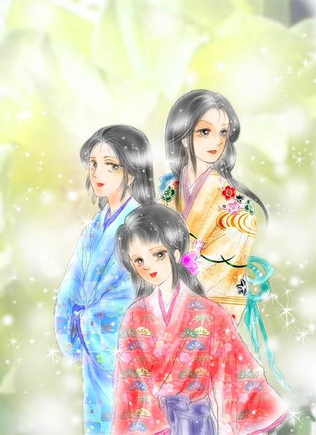 浅井三姉妹 そして、お市の方の娘たち「浅井三姉妹」のイラストです。ちなみに来年の大河... お市