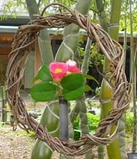 亀甲竹と椿のリース