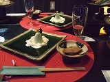 前菜(カキ酢、煮付け、サラダ寄せ)