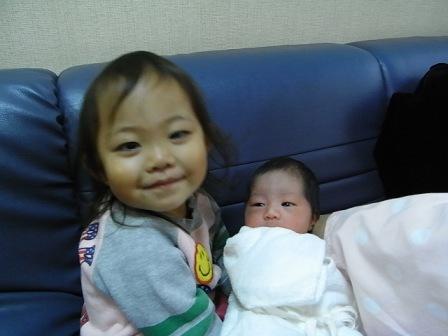 初めての姉妹の写真