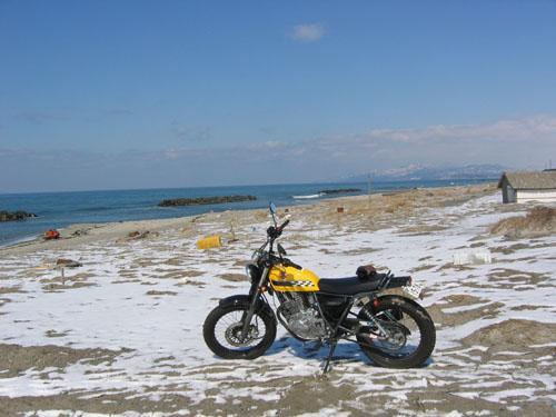 雪の砂浜!