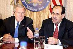 会見をする、ブッシュ大統領とイラク・マキリ首相