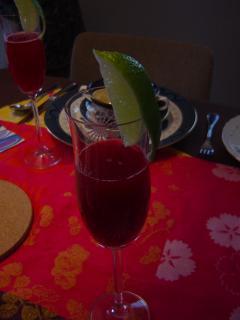 クランベリージュースの食前酒