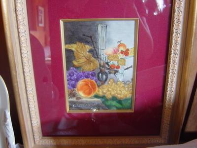 陶板に描いた静物画