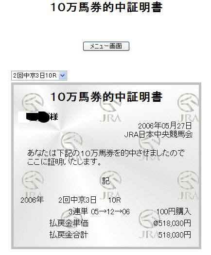 518千円馬券