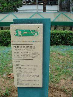 朝陽公園のお茶の作り方案内板