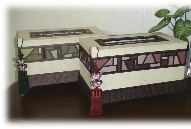 韓紙工芸ーポジャギ模様のティッシュケース01