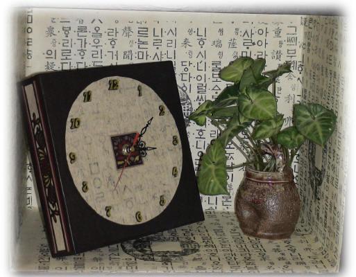 韓紙工芸-壁掛け兼置き時計01