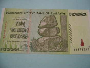 ジンバブエ10兆ドル札