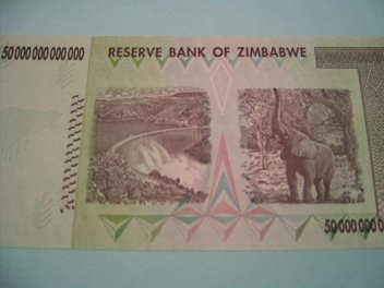 ジンバブエ50兆ドル札