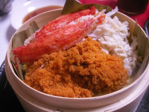 タラバガニの蒸し寿司