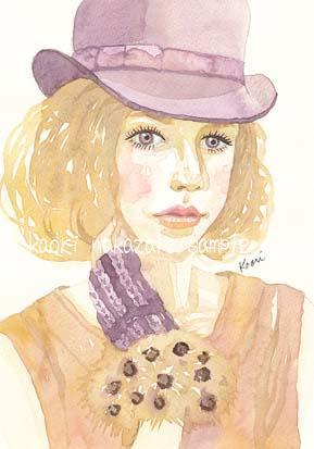 紫の帽子の女性