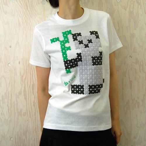 大図まことクロスステッチパンダTシャツ