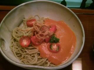 九段一茶庵の冷製トマト・アメリケーヌ蕎麦2