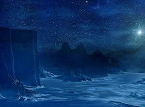 夜の海岸と陣営