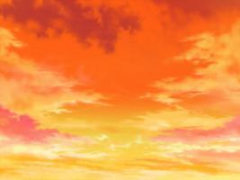 朱色の夕空