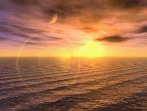 洋上の日没