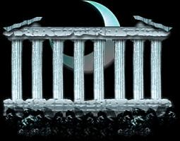 神殿と月(蒼)
