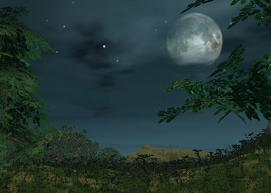 月夜の山々