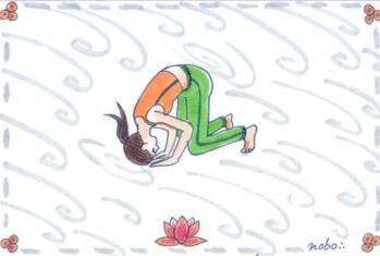 兎の頭コロコロのポーズ☆広池ヨーガ