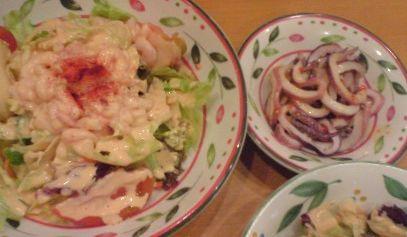 サイゼリア小エビのカクテルサラダ&マイカのパプリカソース