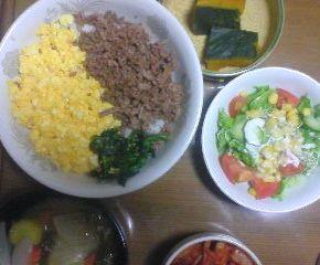 晩ご飯2色丼