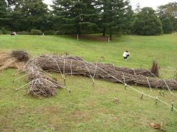 廃材になった木を活用して作ったオブジェ?だと思う。