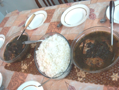 ご飯とモロヘイヤ