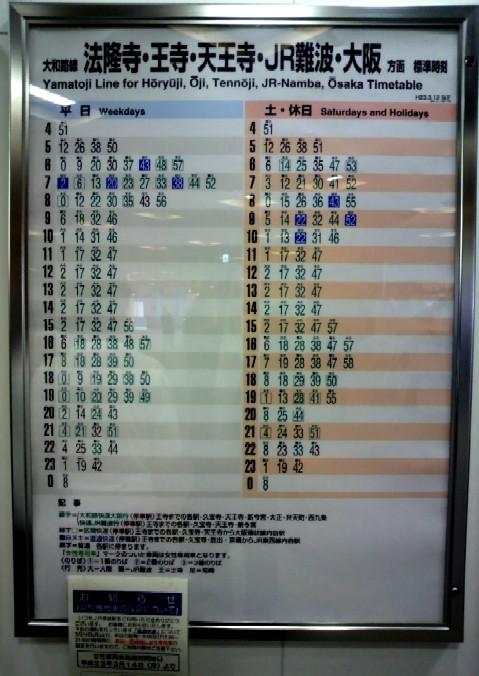2011/03/12改正の大和路線奈良駅時刻表