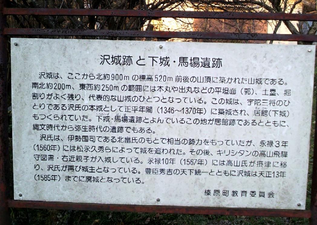 榛原沢城の居館「下城」の案内板